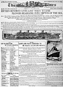 Titanic Photos - Titanic Headline, 1912 by Granger