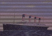 Passenger Mixed Media Prints - Titanic Passenger Mosaic Print by Paul Van Scott