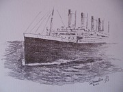 Tide Drawings Prints - Titanic Print by Paul Chestnutt