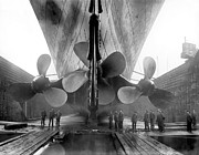 Metal Framed Prints - Titanic Propellers 1911 Framed Print by Stefan Kuhn