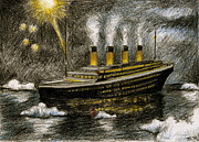 Fireworks Drawings Posters - Titanic Sinks Poster by James Falciano