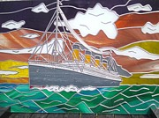 Boats Glass Art - Titanics Last Sunset in Beautiful Stained Glass. by Robin Jeffcoate