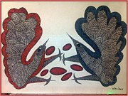 Gond Tribal Art Painting Originals - Tithi Birds by Manoj Tekam