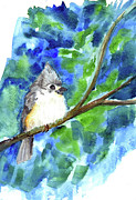 Titmouse Paintings - Titmouse by Ellen Miffitt