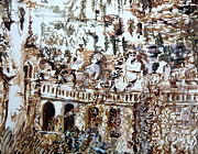 Sepia Drawings Prints - Tivili Fountains Print by Mindy Newman