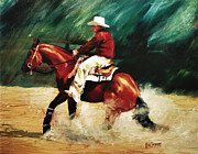 Slide Painting Prints - TK Enterprise Sliding Stop Reining Horse Portrait Painting Print by Kim Corpany
