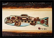 Native Art Pyrography Posters - Tlingit-Kut Salmon Crest Poster by Cynthia Adams