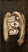Coastal Pyrography Acrylic Prints - Tlingit shark Mask Acrylic Print by Cynthia Adams