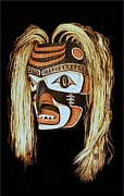 Canada Art Pyrography Prints - Tlingit Shark Mask in color Print by Cynthia Adams