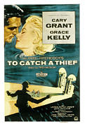 1955 Movies Framed Prints - To Catch A Thief, Poster Art, Cary Framed Print by Everett