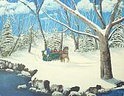 Snow Scene Painting Originals - to Grandmothers House by Brandy House