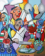 Salad Mixed Media Prints - To Many Cooks In The Kitchen Print by Anthony Falbo
