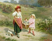 Basket Prints - To Market To Buy a Fat Pig Print by Edwin Thomas Roberts