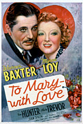 Art With Love Framed Prints - To Mary-with Love, Warner Baxter, Myrna Framed Print by Everett