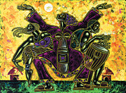 Figurative Metal Prints - To The Beat Of The Drum Metal Print by Larry Poncho Brown