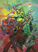 Figurative Metal Prints - To The Beat On 2nd Street Metal Print by Larry Poncho Brown