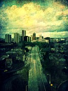 Buildings Art Posters - To the City Poster by Cathie Tyler