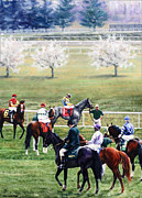 Keeneland Framed Prints - To the Gate at Keeneland Framed Print by Thomas Allen Pauly