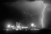 Lightning  Photographer Metal Prints - To The Right Budweiser Lightning Strike BW Metal Print by James Bo Insogna