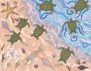 Reptiles Drawings Prints - To The Sea Print by Pamela Schiermeyer