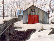 Snowy Trees Paintings - To the Sugar House by Karen Zuk Rosenblatt