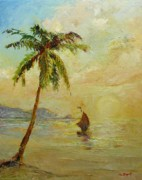 Seascape With A Palm Tree Posters - To the west Poster by Tigran Ghulyan