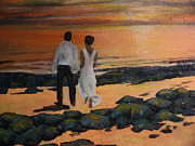 Bride And Groom Paintings - To Wed at Rocky Point by Terri Thompson