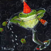 Glass Wall Painting Posters - Toadally In Glass Poster by Debbie McCulley
