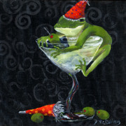 Martini Wall Art Paintings - Toadally On The Outside by Debbie McCulley