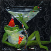 Martini Wall Art Paintings - Toadally Under Glass by Debbie McCulley
