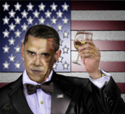 Barack Obama  Paintings - Toast - Respect  by Reggie Duffie