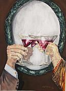 Champagne Paintings - Toast by Miroslaw  Chelchowski