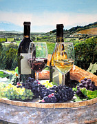 Wine Bottle Prints - Toast of the Valley Print by Gail Chandler