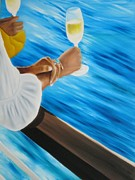 Champagne Paintings - Toast to the Good Life   Toast a la belle vie  by Marcel Quesnel