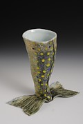 Fish Sculpture Ceramics - Toasting Tails Wine Goblet by Mark Chuck