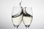 Prosecco Prints - Toasting With Two Glasses Of Champagne Print by Dual Dual