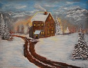 Log Cabin Art Painting Posters - Toasty Cabin Poster by Leslie Allen