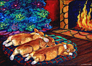 Christmas Dogs Prints - Toasty Toes Print by Lyn Cook