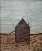 Barns Pyrography Metal Prints - Tobacco Barn In Winter  Metal Print by Phillip H George