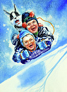Winter Fun Painting Metal Prints - Toboggan Terrors Metal Print by Hanne Lore Koehler