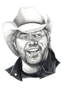 Country Drawings Prints - Toby Keith Print by Murphy Elliott
