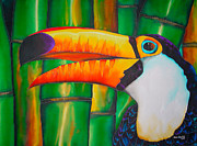 Forest Tapestries - Textiles Framed Prints - Toco Toucan Framed Print by Daniel Jean-Baptiste
