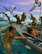 Sharks Art - Tocobaga Fishing by Hermann Trappman