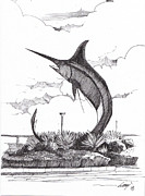 Marlin Drawings - Todak Statue by Azlan Dulikab