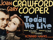 Films By Howard Hawks Framed Prints - Today We Live, Gary Cooper, Joan Framed Print by Everett
