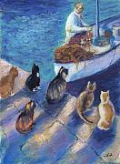 Cats Pastels Prints - Todays Catch Print by Helen Hammerman