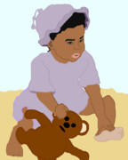 African American Art Prints - Toddler and Teddy Print by Pharris Art