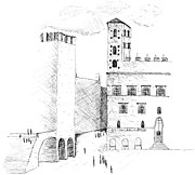 Road Travel Drawings Prints - Todi Print by Elizabeth Thorstenson