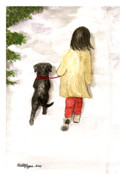 Girl With Dogs Posters - Together - Black Labrador and Woman Walking Poster by Amy Reges