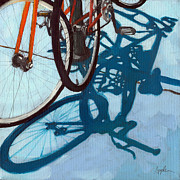 Two Bicycles Framed Prints - Together - city bikes Framed Print by Linda Apple